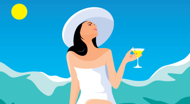 lady by the pool with martini cronulla folk