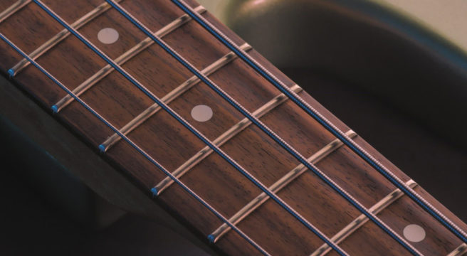 close up of guitar fret board